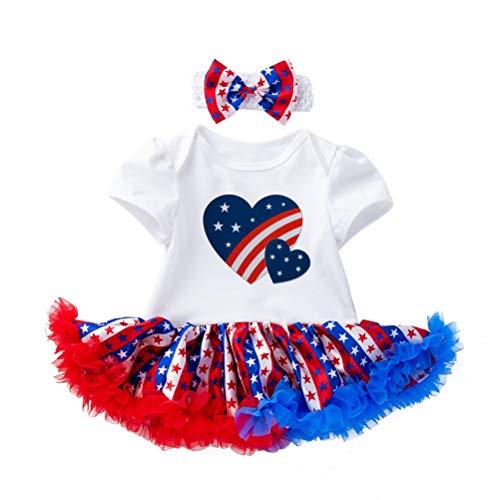 Amosfun 4. Juli Baby Mädchen Outfit Tutu Kleid Amerikanische Flagge Gedruckt Patriotische Haarschleife Stirnband für Baby Neugeborenen (12-24 Monate)