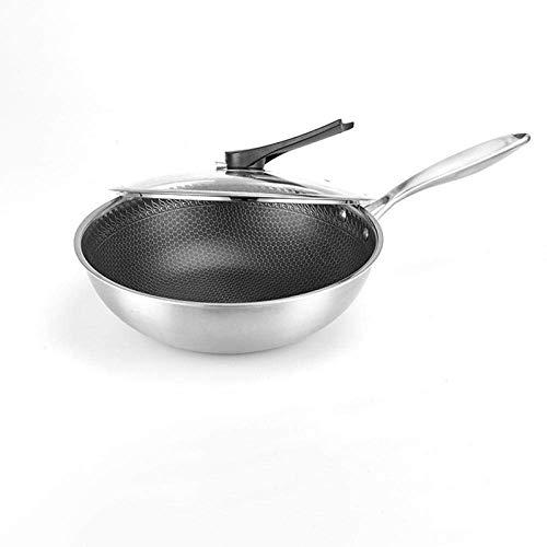 Wok en Koekenpan, Stone antikleefcoating Wok, Multifunctionele Physical niet gecoat roestvrij staal Wok-Pot_M, Silicone Handle, wokbrander Ring ZHANGKANG (Color : Pot, Size : Medium)