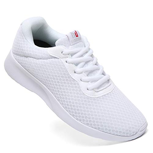 MAITRIP Mens Gym Shoes,Athletic Running Shoes,Lightweight Breathable Mesh Casual Tennis Sports Workout Walking Sneakers,All White,Size 9.5