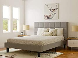 DecorNation Julius Engineered Wood Upholstered Platform Glossy Finish Queen Bed for Bedroom, Home Furniture (Grey,...