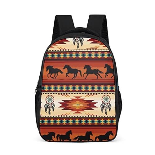 Bairizumeg Zainetto per ragazze e ragazzi bambini con cavalli indiani acchiappasogni, stile casual, Grigio acceso., taglia unica,