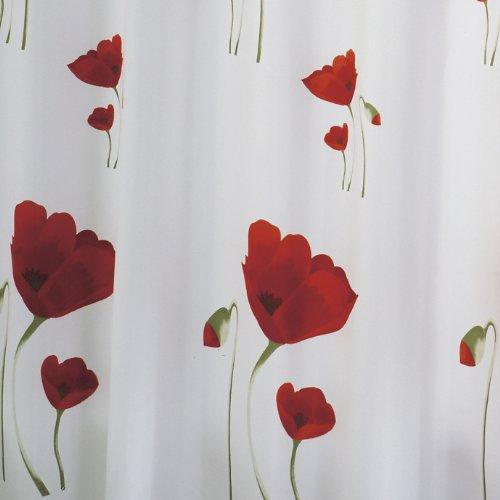 RIDDER Duschvorhang Textil ca. 180 x 200 cm, Mohn inklusive Ringe