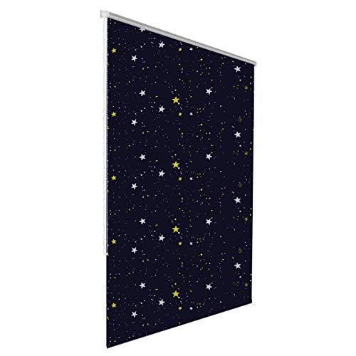 Klemmfix Verdunkelungsrollo für innen ohne Bohren :: Rollos für Fenster, blickdicht und lichtundurchlässig 90x150 cm Sterne