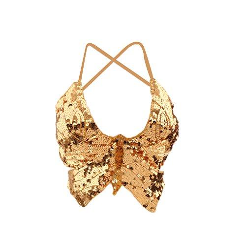 Damen Bauchtanz BH Bra Kostüm Pailletten Oberteil Top Skirt - Gold