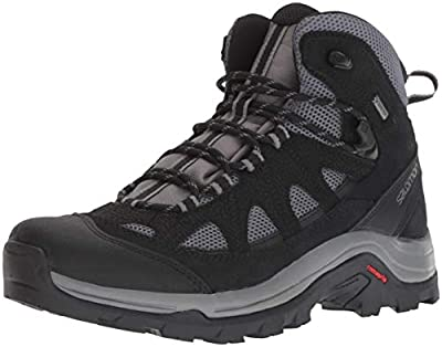 Salomon Men's Authentic Leather & GORE-TEX Backpacking Boots, Magnet/Black/Quiet Shade, 10 D US