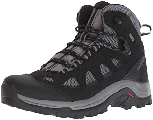 Salomon Men's Authentic Leather & GORE-TEX Backpacking Boots, Magnet/Black/Quiet Shade, 9.5 D US