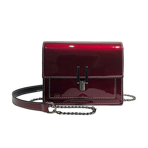 Frauen Mädchen Mode Lackleder Klappe Tasche Vorhängeschloss Crossbody Umhängetasche (Rot)