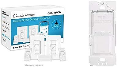 Lutron Caseta Smart Start Kit, Dimmer Switch (2 Count) with Smart Bridge and Pico remotes, White & Caseta Wireless Wallplate Bracket for Pico Remote, PICO-WBX-Adapt,Translucent
