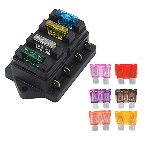 Gebildet 4 Way Car Standard Blade Fuse Holder Box (Apply to 1~40 AMP), with 10pcs Free Blade Fuse (3A/5A/7.5A/10A/15A/20A/25A/30A/35A/40A), Auto Fuse Block for Car/Boat/Marine/Trike
