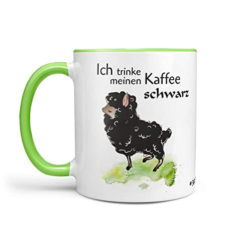 Sunnywall Kaffeetasse Tasse Teetasse Schaf - Ich trinke Meinen Kaffee SCHWARZ (Tasse-267-grün)