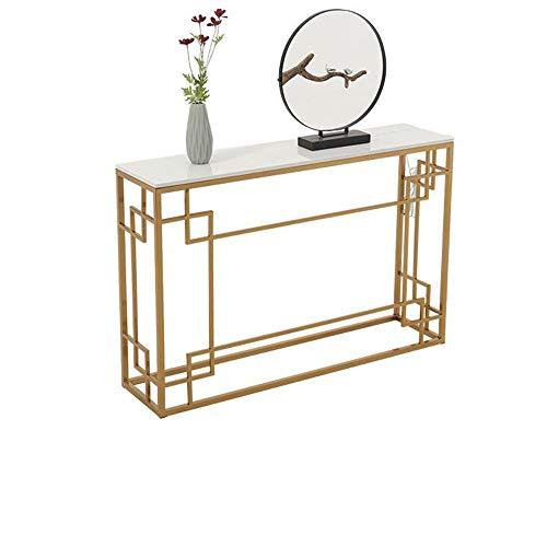 HAIZHEN Mesa de Sofá Costa de Oro de imitación de mármol consola de mesa, multipropósito Sofá Mesa lateral con pantalla LED de decoración, Fotos, Fotos de, entrada o pasillo.Habitación Familiar 31 × 1