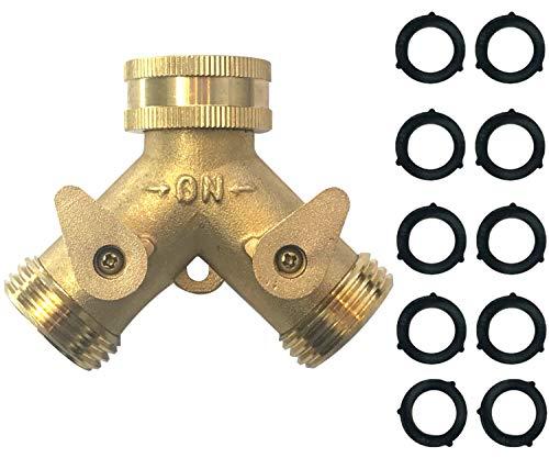 MAXFLO Heavy Duty Brass Y-Hose Splitter | Garden Hose 2 Way Splitter | Y Splitter Hose | Lawn Hose Splitter Spigot Adapter with 2 Valves | 10 Extra Rubber Washers