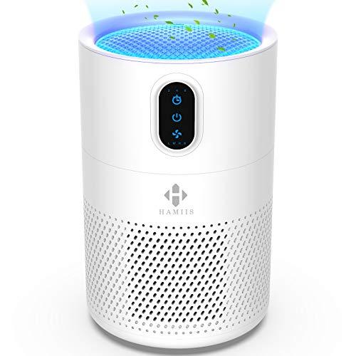 HAMIIS Luftreiniger, Air Purifier mit HEPA und Aktivkohlefilter, 2/4/8H Timer, Optionales Nachtlicht, 4 Geschwindigkeiten, Entfernt Gerüche, für Allergiker und Raucher, Weiß