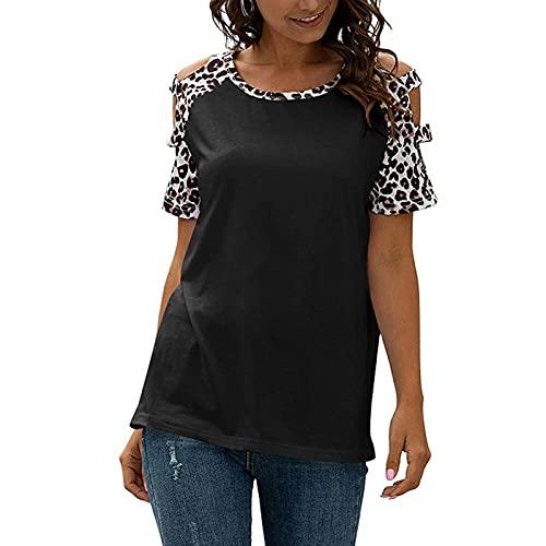 Damen T-shirt Mode V Ausschnitt Kurze trägerlose Drucke Spitzen lose Tshirt Sweatshirt für Frauen Shirt Mit Aufdruck Kurzarm Oberteile Bluse