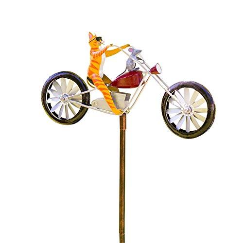 Binghai Vintage bicicleta Metal viento Spinner con poste de pie jardín patio decoración estilo vintage detalles decoración al aire libre, rústico, acabado antiguo