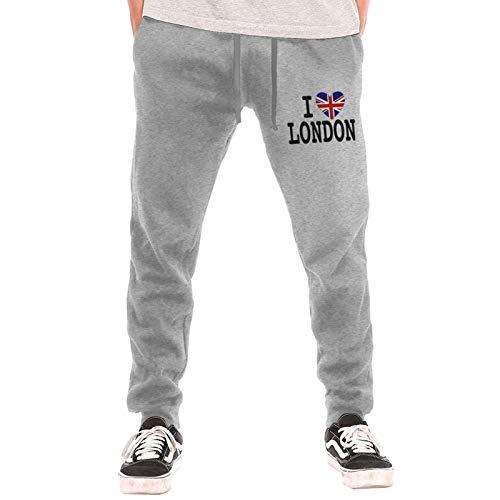 I Love London Sweatpants Jogger Pant Men Fleece Sweatpants for Outdoor Training Jogger Gray