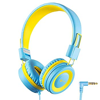 iClever HS14 Kids Headphones for Boys Girls- Wired Headphones for Kids with 94dB Volume Control Tangle-Free Cord Foldable Child s Headphones for iPad Tablet Kindle Airplane School - Blue/Yellow
