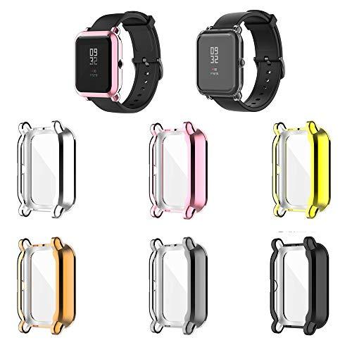 Bemodst Compatible con Amazfit Bip 1S, funda de silicona suave a prueba de golpes, carcasa protectora antiarañazos, funda protectora TUP Smart Watch para Amazfit Pop (6 piezas)