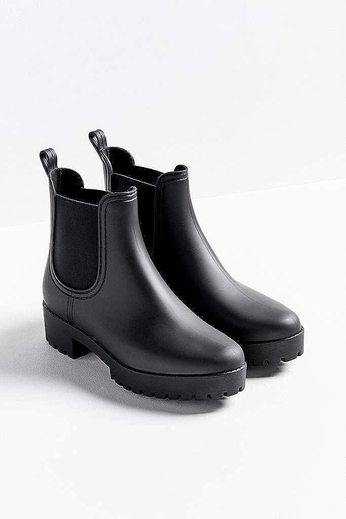 Women Rain Boots Ankle Short Chelsea Rubber Elastic Solid Waterproof Anti-Slip Shoes Booties dripdrop Ladies Chunky mid heel