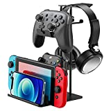 Headphone Stand, Game Controller Holder & Headset Stand Hook for Desk Storage Organizer, Multiple Aluminum Controller Stand Brackets for Nintendo Switch, Xbox 360, Xbox one, PS4, PS5, STEAM, PC Gaming