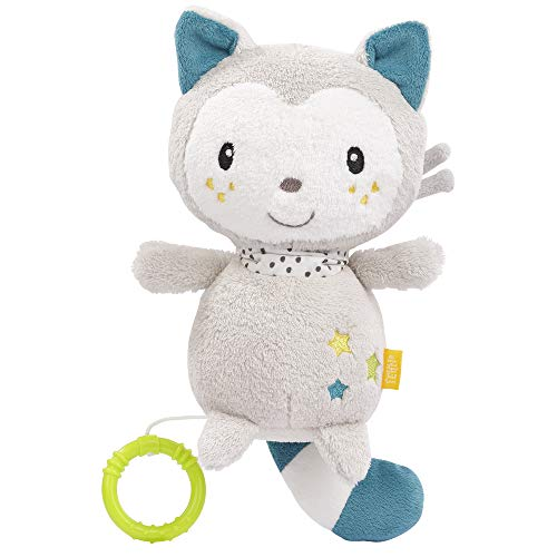 FEHN 057089 Spieluhr Katze / Kuscheltier & Einschlafhilfe: Aufzieh-Spieluhr mit sanfter Melodie beruhigt in jeder Situation – für Babys und Kleinkinder ab 0+ Monaten
