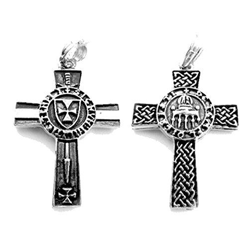 Ordo de Templo Kettenanhänger, 925 Sterling Silber Kette, Teppelritter-Kreuz Anhänger, Templerorden