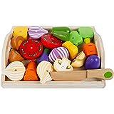 Ballylelly Magnetisches Besteck für Kinder Küchenspielzeug Holzmädchen schneidet Obst- und...