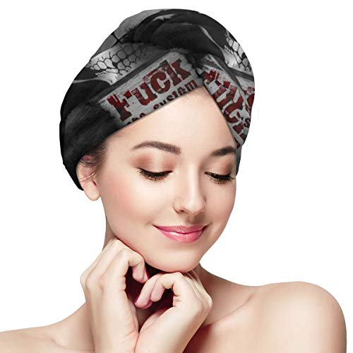 Panda Masked Fuck System Dry Hair Cap Microfibre Hair Towel Wraps Ultra Absorbent Quick Dry Twist Turban with Button for Drying Curly Long Thick Hair 11¡± X 28¡±