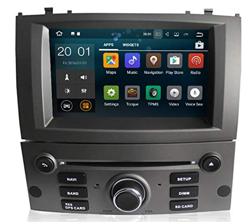Sunshine Fly Touch screen capacitivo da 7 pollici Android 8.0 Quad Core 1024 * 600 2 DIN DVD Navi Autoradio GPS Stereo per Peugeot 407 2004-2010 Lettore audio Bluetooth FM AM Hotspot WiFi 3G SWC