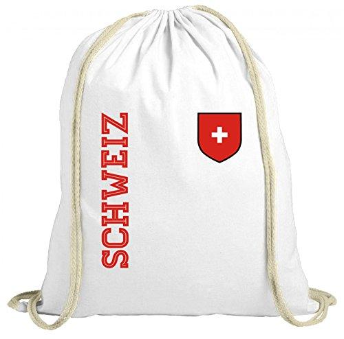 Swiss Fußball WM Fanshirt Gruppen natur Turnbeutel Rucksack Gymsac Fan Trikot Schweiz, Größe: onesize,weiß natur