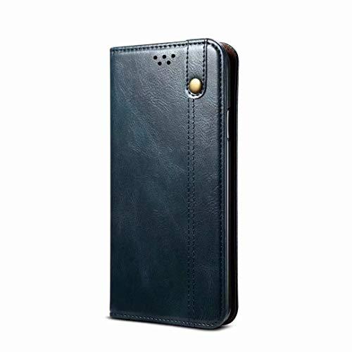 Funda para Xiaomi Redmi Note 10 Pro/Note 10 Pro Max, 3D a prueba de golpes de piel sintética premium con absorción de golpes para portátiles con soporte magnético para tarjetas, funda protectora azul