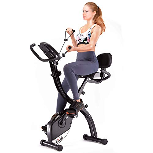 EXIA Folding Magnetic Exercise Bike with Pulse Sensor,...
