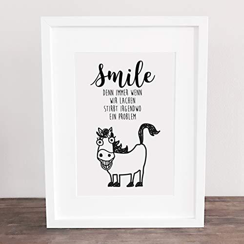Bild, Poster, Kunstdruck, Deko, Wanddeko, Lachen, Pony, Pferd, Spruch