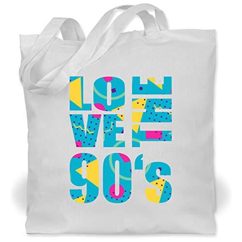 Shirtracer Statement - Love the 90s - mit geometrischem Muster - Unisize - Weiß - Statement - WM101 - Stoffbeutel aus Baumwolle Jutebeutel lange Henkel