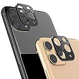Ossky Protettore Lente Fotocamera Posteriore per iPhone 11 Pro Max / 11 Pro, 2 Pezzi Copertura della fotocamera del telefono cellulare Materiali in lega di alluminio Senza Bolle (Nero)