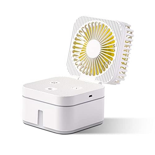 NOBUNO 2020 Nuevo Cubo de Rubik Multifuncional rociar humidificador Escritorio de Oficina Mini humectador Abanico Plegable, de Gran Capacidad, Larga Vida USB,Blanco