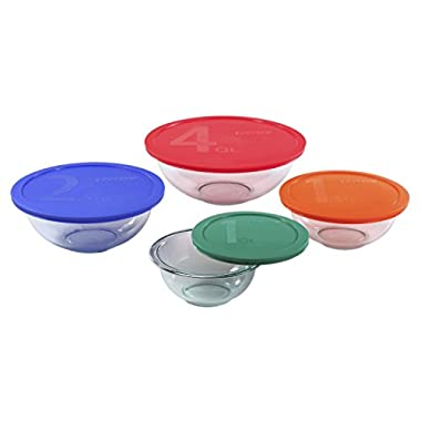 Pyrex 1123266 8 Piece Smart Essentials Bowl Set, Clear