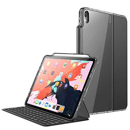 """i-Blason Halo V2.0 Series Case Designed for iPad Pro 11 Inch Case 2018, [for use ONLY with Smart Keyboard; Compatible with Official Smart Folio] Hybrid Protective Case with Pencil Holder, Black, 11"""""""