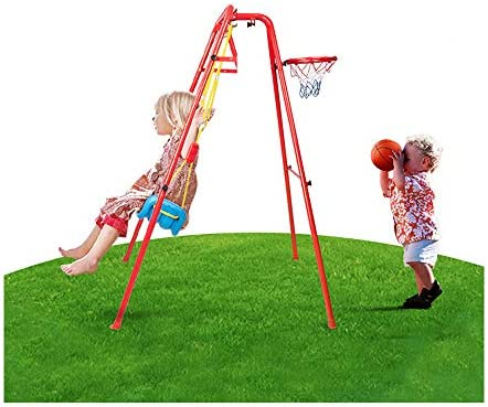 US Fast Shipment Swing and Basket Ball Set 2 1 Combinaison Toys Basketball Net Swing Chair Sets product image
