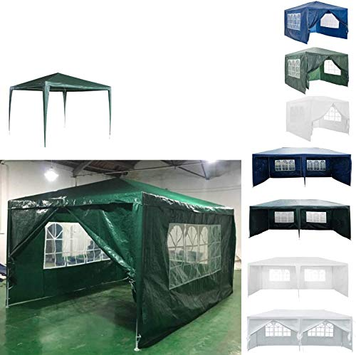 AutoBaBa 3M x 4M Gazebo Tent Marquee Canopy Powder Coated Steel Frame for Outdoor Wedding Garden Party Camping, with Side Panels, Waterproof, Green