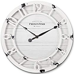 PresenTime & Co 10 Farmhouse Series Wall Clock, Shiplap Style, Raised 3D Arabic Numeral, Antique Distressed White
