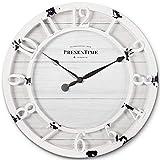 PresenTime & Co 10' Farmhouse Series Wall Clock, Shiplap Style, Raised 3D Arabic Numeral, Antique Distressed White