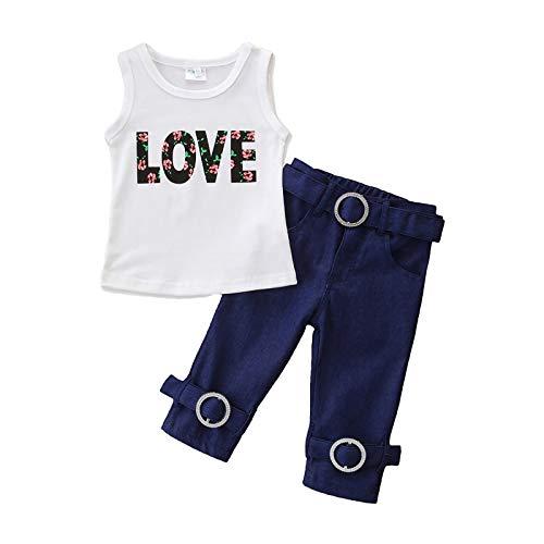 Leyeet Ropa de verano para niña sin mangas con estampado de letras
