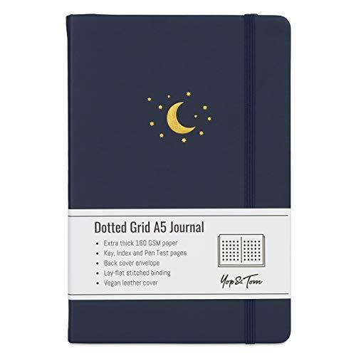 Yop & Tom Bullet Grid Journal - Notizbuch A5 mit Punktraster – Tagebuch – Notebook – Bücher mit extra dickem Papier (160 g) - Nachtblau