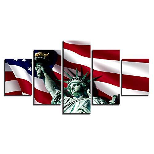 VGFGI HD Leinwand Druckgrafik Gemälde Wohnzimmer Wanddekoration 5 Stück Freiheitsstatue & amerikanische Flagge Bild modular