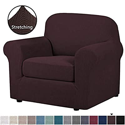 H.VERSAILTEX 2-Piece Stretch Stylish Sofa Slipcover Jacquard Fabric Small Checks Furniture Protector Sofa Cover Couch Cover with Elastic Bottom, Chair Size
