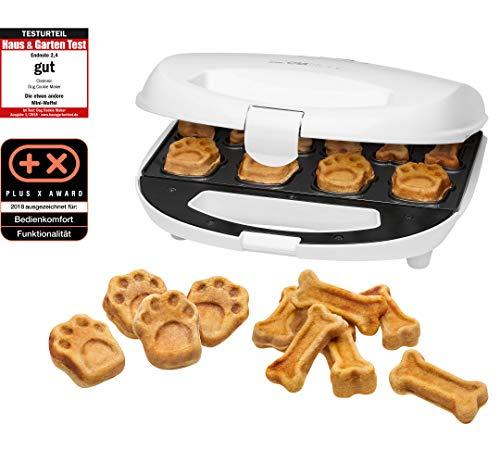 Clatronic DCM 3683 Máquina para hacer galletas para perros y mascotas con forma de huella y hueso, Dog Cookie Maker, incluye recetas Propuestas, 700 W, Aluminio, Blanco