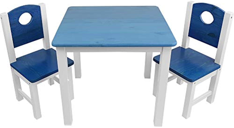 Kinder-Sitzgruppe - Kinderzimmer Set  1 Tisch und 2 Stühle - top Mbel-Qualitt aus Kiefer Massivholz - Kindertisch und Kinderstühle für Jungen und Mdchen, Farbe Blau