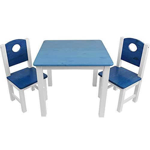 SunDeluxe Conjunto Infantil de Mesa y sillas: 1 Mesa + 2 sillas de Madera Maciza de Pino para niños - Mesa para Actividades Infantiles, Color:Azul