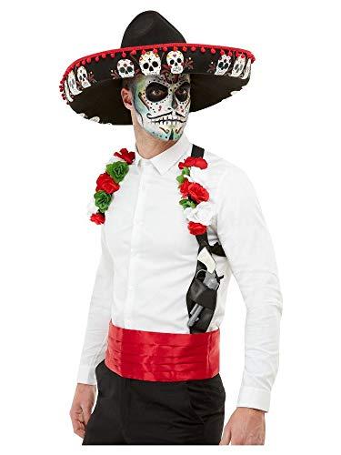 shoperama Juego de 3 piezas de disfraz del Da de los Muertos Sombrero de los Muertos con calaveras mexicanas y rosas